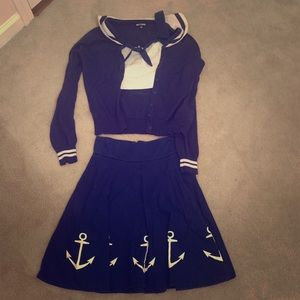 Hot Topic Sailor Style Outfit Size Small